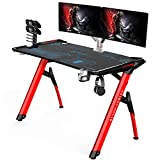 Kinsal Gaming Desk Speed Series Computer Desk with Free Large Mouse pad, Racing Style Professional Gamer Game Station Gaming Handle Rack, Cup Holder & Headphone Hook (GD-81)