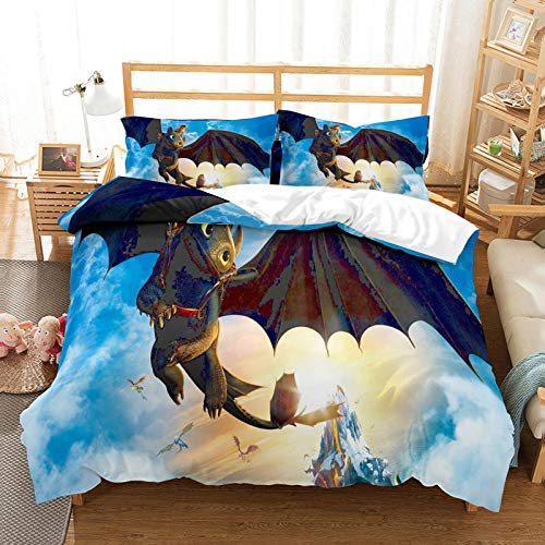 Bcooseso 3D Anime Theme Flying Dragon Print Duvet Cover and Pillowcase Bedding Set for Children Boys Junior Single Double King Size, Microfibre (Super King size 260 x 230 cm )