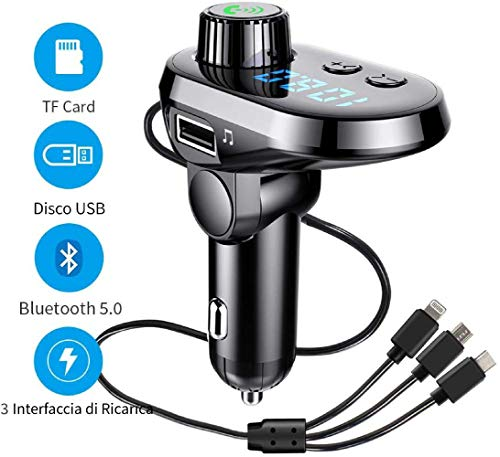 Zovcal FM Transmitter Bluetooth 5.0, FM Transmitter voor auto radio oplader met 3 USB-poorten handsfree adapter Car Kit voor TF-kaart, USB-poort, Micro SD-kaart, U-schijf, mobiele telefoons, tablets
