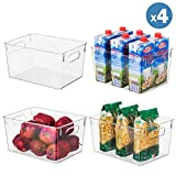 Clear Plastic Storage Organizer Container Bins with Cutout...