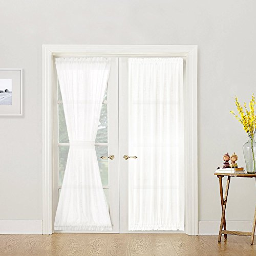 French Door Curtain Panel Linen Look French Door Panels 72 inch White Sheer Curtains for French Doors, Tieback Included, Sold Individually