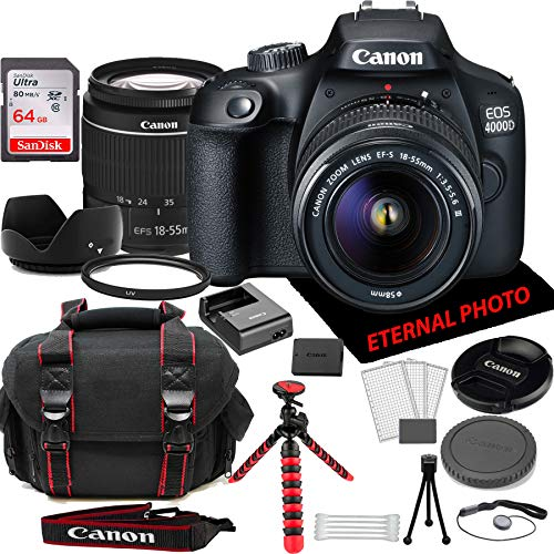 Canon EOS 4000D DSLR Camera w/Canon EF-S 18-55mm Zoom Lens, 64GB Memory Card, Camera Case (20 Piece Bundle)