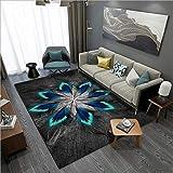 makeups17 alfombras Modernas Grandes Alfombra Interior Y Exterior fácil Mantenimiento Ideal para salón, Cocina,Plumas Negro Gris Azul Turquesa 140X200CM(4.6ft x 6.5ft