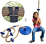 Jungle Gym Kingdom Tree Swing Climbing Rope with Platforms Blue Disc Swings Seat - Outdoor Playground Set Accessories Tree House Flying Saucer Outside Toys - Snap Hook and 4 Feet Strap