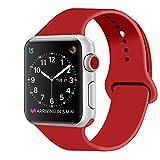 ZRO Cinturino for Apple Watch, Morbido Silicone Braccialetto di Ricambio per 42mm iWatch Serie 3/ Serie 2/ Serie 1, Taglia S/M, Nuovo Rosso
