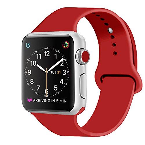 ZRO Cinturino da polso di ricambio per il nuovo Apple iWatch serie 2/serie 1, in morbido silicone, modello sportivo, Red, 42mm M/L