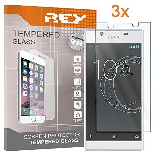 REY Pack 3X Panzerglas Schutzfolie für Sony Xperia L1, Bildschirmschutzfolie 9H+ Festigkeit, Anti-Kratzen, Anti-Öl, Anti-Bläschen