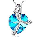 Angelady ♥Amour de l'éternité Collier Coeur Bleu Améthy