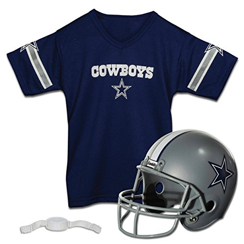 Franklin Sports NFL Dallas Cowboys Football Helmet & Jersey Set - Fan Costume - Youth OSFA - Ages 5-9 - NFL Official Licensed Product