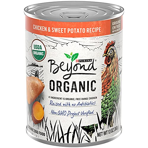 Purina Beyond Organic Wet Dog Food, Organic Chicken & Sweet Potato Adult Recipe Ground Entrée with Broth - (12) 13 oz. Cans