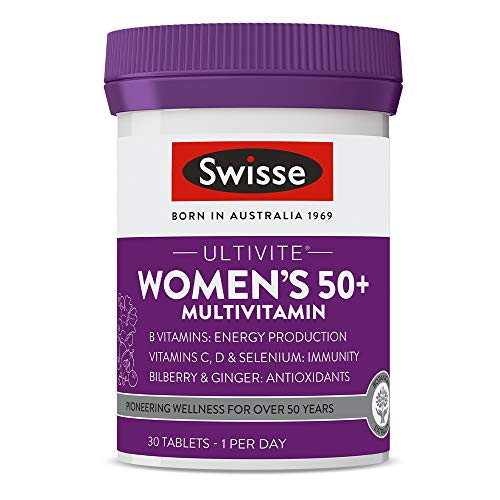 Swisse Ultivite Women's 50 Plus Daily Multivitamin Tablet Energy and Immunity Support Rich in Vitamins, Minerals and Botanical Extracts 30 Tablets