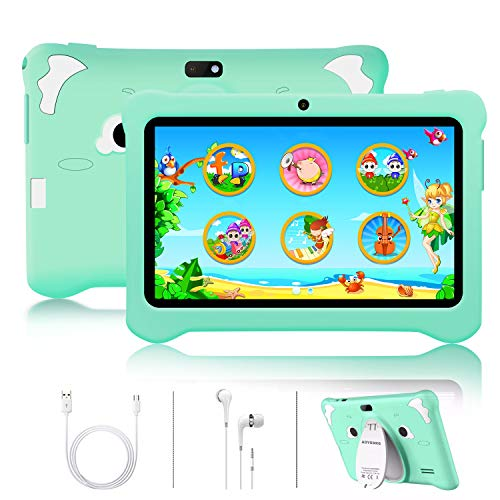 Kids Tablet Toy 7 inch, IPS HD Display Android 10 Tablet PC 3GB RAM, 32GB ROM/128GB,Tablet for kids GMS Certificated,Google Play Pre-Installed with Kid-Proof Case, Wi-Fi,for Kids Birthday Gift(Green)
