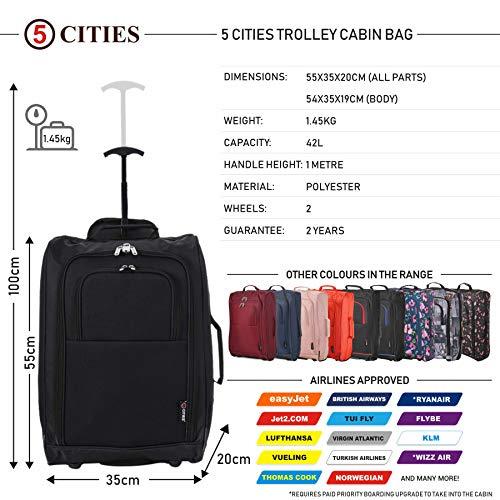 5 Cities TB023-830 Bagaglio a mano, collezione Valencia, 55 cm, 42 litri, 2 pezzi, Nero