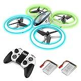 Q9 RC Drone Drone ከፍታ እና ሰማያዊ እና አረንጓዴ የሌሊት ብርሃን ፣ ኳድሮኮፕተር ከ 2 ባትሪዎች ፣ የ 20 ደቂቃዎች የበረራ ሰዓት እና ሙሉ ፕሮፖሰርተር ጥበቃ ፣ ለልጆች እና ለጀማሪዎች የመጫወቻ አሻንጉሊቶች