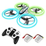 Q9 RC drone drone dengan penahan dan lampu malam biru & hijau, quadrocopter dengan 2 baterai, 20 menit waktu penerbangan dan baling-baling untuk sepenuhnya melindungi, mainan drone untuk anak-anak dan pemula.