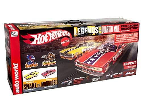 Auto World Hot Wheels Slot Car Racing Set - Snake v. Mongoose - 13 Foot Slot Race Track (SRS330)