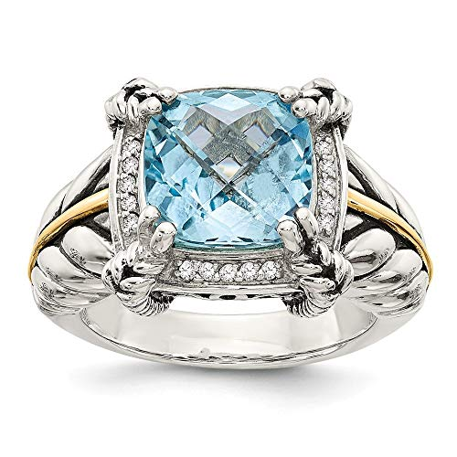 14ct amarillo 10 mm Cush color Azul topacio - anillo de diamantes en bruto talla L 1/2 - JewelryWeb