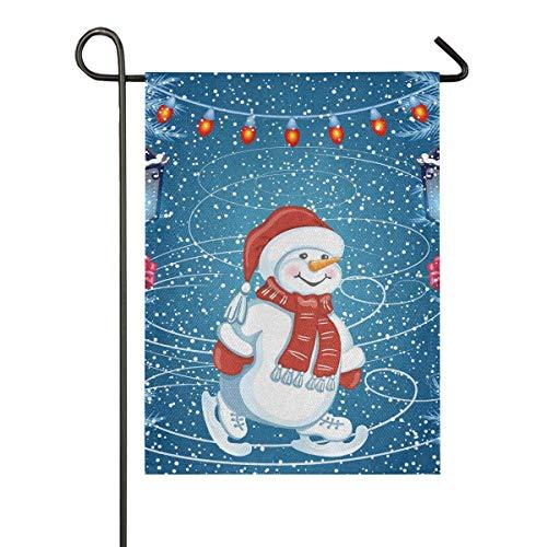 AEMAPE Muñeco de Nieve Que Patina Santa Bandera del jardín estacional Banderas de Patio de Vacaciones al Aire Libre