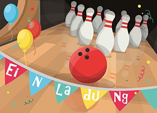 """12 Einladungskarten zum Kindergeburtstag """"Bowling"""" // Geburtstagseinladungen Einladungen Geburtstag Kinder Pin Jungen Mädchen Bowlingkugel Karten Set Kegeln"""