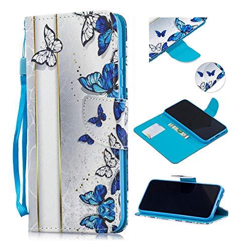 Qiaogle Funda para Samsung Galaxy J5 2016 / J510 - PU Cuero Billetera Clamshell Carcasa Cover para Samsung Galaxy J5 2016 / J510 - HX114 / Blue Butterfly