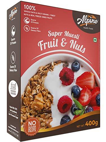 Alpino Super Muesli Fruit & Nuts 400 G | Whole Oats & Whole Grain | Finest Nuts & Raisins | Real Freeze Dried Fruits | No Sugar...