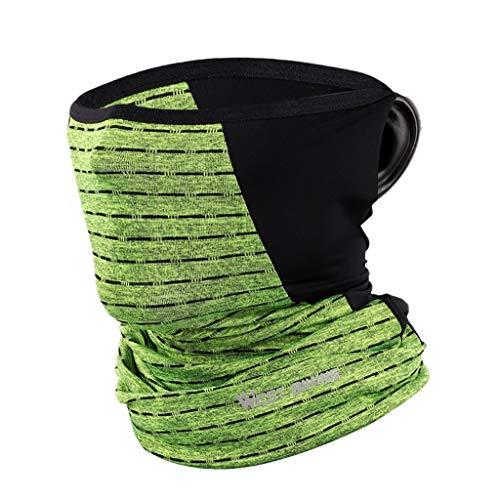 Andouy Sturmhauben | Schlauchtuch | Neckwarmer | Halstuch | Balaclava | Multifunktionstuch | Face Shield | Motorradschal | Verschiedenen Farben(L.Grün-2)