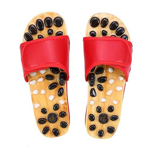 A-MUZI Natürliche rutschfeste Gans-Massage-Pantoffeln, Fuß-Akupunktur-Pediküre-Schuhe, Innenhaupt-Sandelholze, Behandlung-Reflexzonenmassage-Fuß-Massage-Sandelholze,Red,39