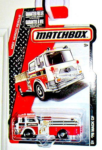 Matchbox 2015 MBX Heroic Rescue '75 Mack CF Fire Engine 55/120, Red and White