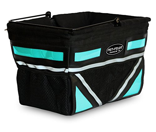 Travelin K9 Pet-Pilot Dog Bike Basket Carrier | 8 Color Options for Your Bicycle (Turquoise)