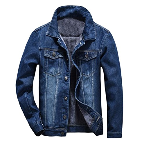 Abetteric Men Slim Fit Thicken Fleece Denim Jean Jacket Coats Outerwear Dark Blue S