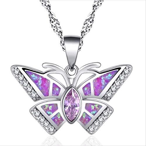 CCXXYANG Co.,ltd Collar Mujeres De Lujo Creativo Mariposa En Forma De Color Ópalo Colgante Fiesta Niñas Cumpleaños Joyería