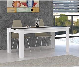 FINLANDEK Table a manger ELÄMÄ 6 a 8 personnes 160x90 cm - Blanc et noir