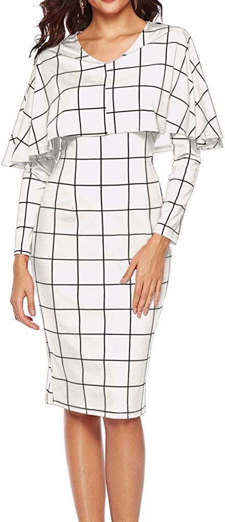 QIQIU Women's Elegant Classical Plaid Flared Office Business Office Party Gown Dresses