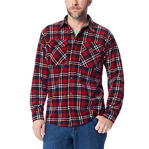 Wrangler Authentics Men's Long Sleeve Plaid Fleece Shirt, Rio red Tartan, L
