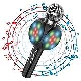 Microfono Karaoke, 4 in 1 wireless Bluetooth Dancing LED Luci Altoparlante portatile, Lettore KTV domestico con funzione di registrazione, Compatibile con dispositivi Android e iOS [nero]
