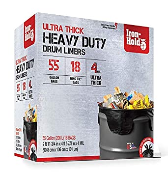 Iron-Hold 55 Gallon 4 Mil Contractor Trash Bags Wing Tie 18 Ct