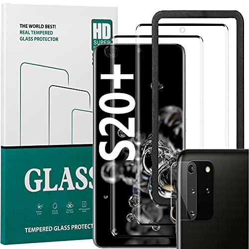 Protector de pantalla de cristal templado para Samsung Galaxy S20 Plus, cobertura completa [2 + 1 + 1 paquete][marco de instalación fácil][sin burbujas] Protector de pantalla HD para S20 Plus