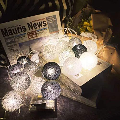 TEMCO Luces decoración de Habitación con Forma de Bolas de Lana, Luces Led Iluminación de Interior que Funciona con Pilas o Enchufe USB(20 Bolas de 60 mm, Gris Nórdico)
