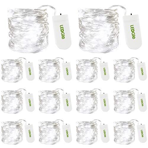 LEDGLE LED Lichterkette Batterie Drahtlichterkette, 6000K Kaltweiß 3M 30LEDs, Lichterketten Batteriebetrieben, IP67 Wasserdichte für Weihnachten, Fenster, Hochzeit, 14er