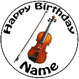 Personalisierter Violine Geige Zuckerguss Kuchen Topper / Kuchendekoration - 20 cm Großer Kreis -...
