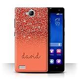 Personalisiert Hülle Für Huawei Honor 3C Persönlich Glitter Effekt Rot Design Transparent Ultra Dünn Klar Hart Schutz Handyhülle Hülle