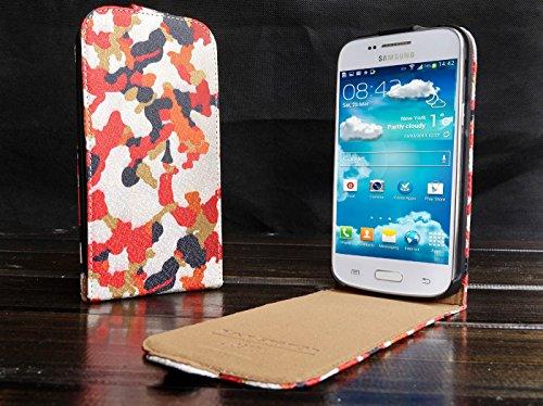 Urcover Flip Cover Galaxy G 3500 / Core Plus, Custodia Protettiva Chiusura Magnetica Wallet Case Samsung Galaxy G 3500 / Core Plus 4,3 Pollici - Camou Rosso