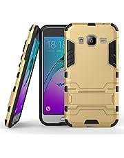 Funda Galaxy J3 (2016), CHcase 2in1 Armadura Combinación A Prueba de Choques Heavy Duty Escudo Cáscara Dura PC + Suave TPU Silicona Case Cover con soporte para Samsung Galaxy J3 (2016) -Gold