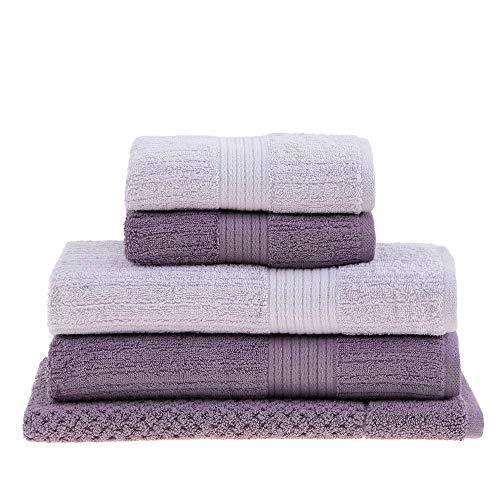 jogo de toalhas de banho buddemeyer 5 peças fio penteado canelado lilás 097