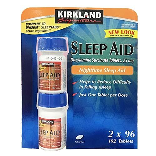 Kirkland Signature Sleep Aid Doxylamine Succinate 25 Mg, 2 pack (192 Tablets)