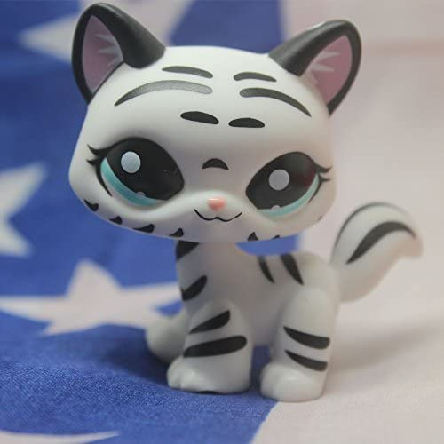 Littlest Pet Shop Tiger Weiß cat kitty Striped With Aqua Blau Eyes LPS 1498 by Tamie