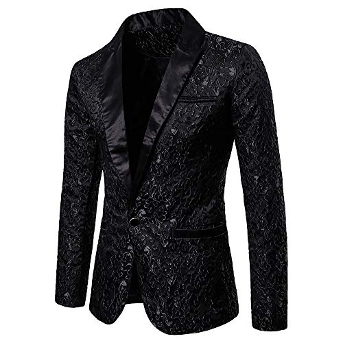 Toimothcn Charm Men's Sequin Casual One Button Fit Suit Blazer Coat Jacket Party(Black1,L)