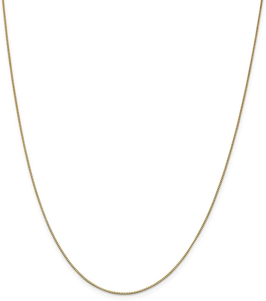 Solid 14k Yellow Gold .7mm Box Chain Necklace - with Secure Lobster Lock Clasp