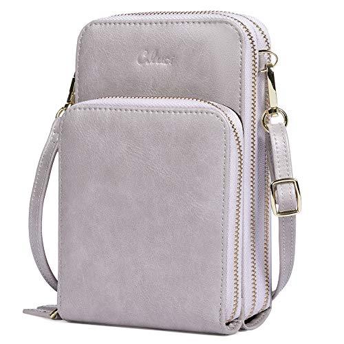 Small Crossbody Bag for Women Leather Cellphone Shoulder Purses Lightweight Fashion Travel Wallet Designer Ladies Oil wax grey
