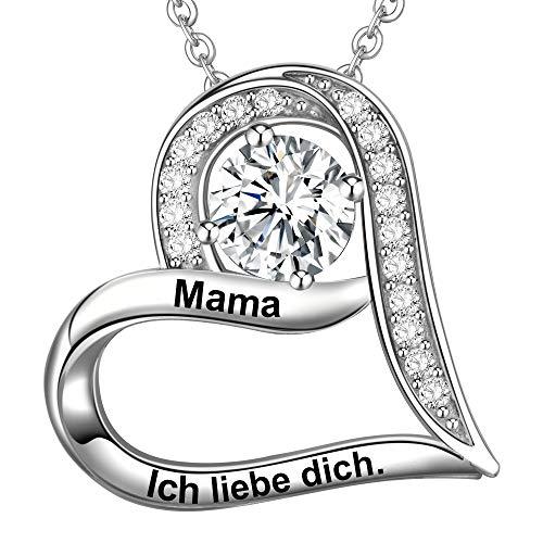 LOVORDS Damen Halskette Gravur 925 Sterling Silber Herz Kette Anhänger Mutter Geschenk für Mama
